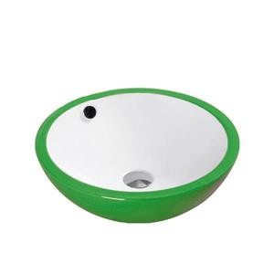 """Lavabo en céramique avec trop-plein, 17,25"""", blanc/vert"""