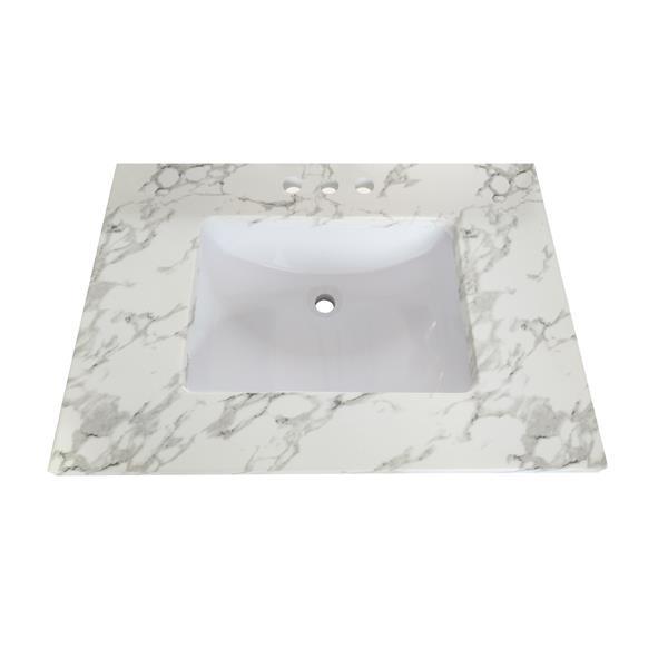 Luxo Marbre Quartz Bathroom Countertop - 25-in x 22-in - White