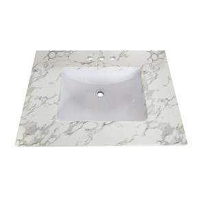 """Dessus de meuble-lavabo en quartz, 25"""" x 22"""", blanc"""