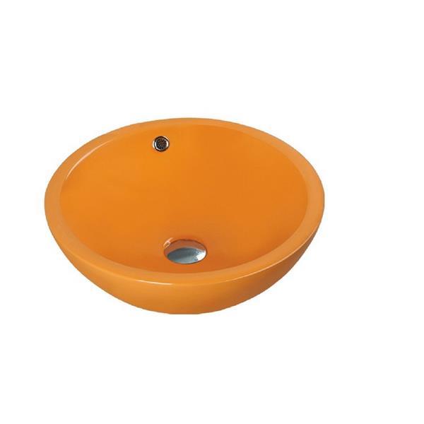 """Lavabo en céramique avec trop-plein, 17,25"""", orange"""