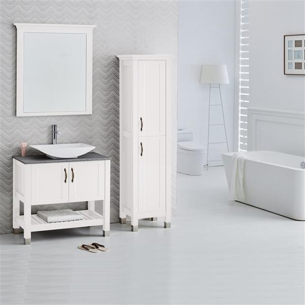 Luxo Marbre Lady Bathroom Mirror - 30-in x 37.36-in - Lacquered White