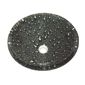 Luxo Marbre Glass Bathroom Sink - 16.5-in - Water Drops