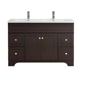 Luxo Marbre Mirano 2-Door Bathroom Vanity - 49-in- Lacquered Dark brown