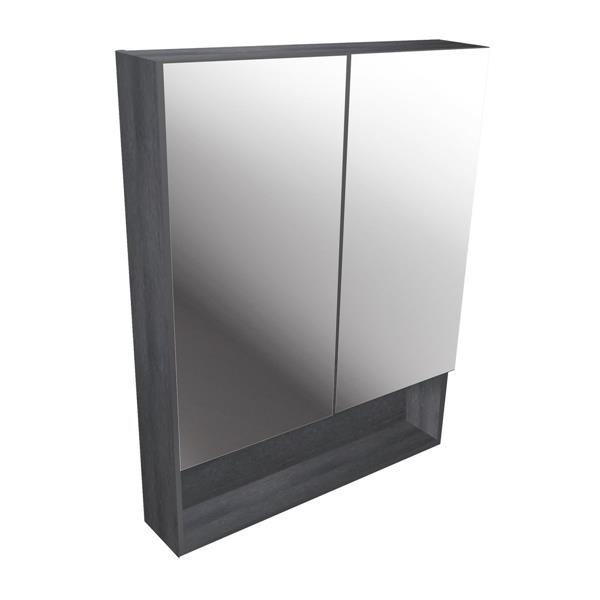 Luxo Marbre Smally Mirror Medicine Cabinet - 27.5-in x 35.5-in - Charcoal