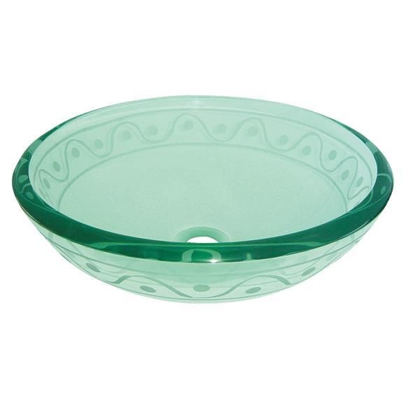 Luxo Marbre Glass Bathroom Sink - 16.5-in- Wave Border