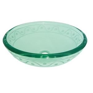 """Lavabo en verre, 16,5"""", clair avec bordure"""