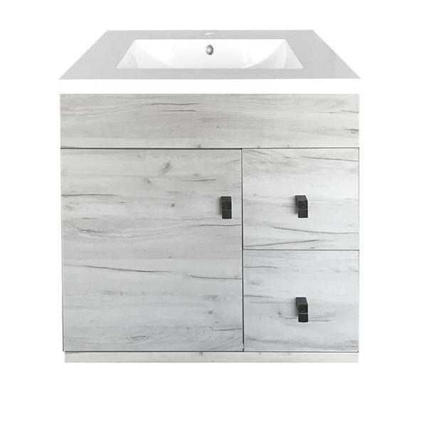 Luxo Marbre Eco Bathroom Vanity - 31-in - Old White Wood Veneer