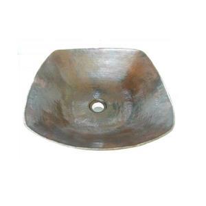"""Lavabo carré en cuivre, 15,5"""""""
