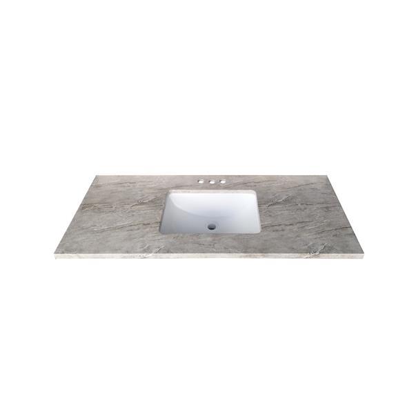 Luxo Marbre Quartz Bathroom Countertop - 49-in x 22-in - Grey