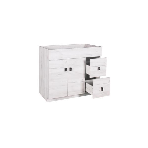 Luxo Marbre Eco Bathroom Vanity - 37-in - Old White Wood Veneer