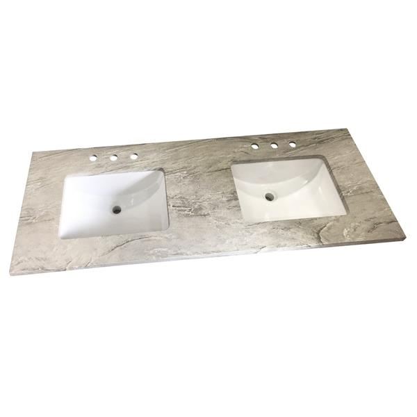 """Dessus de meuble-lavabo en quartz, 61"""" x 22"""", gris"""