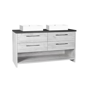 Luxo Marbre Countryside Bathroom Vanity  - 60-in - Old White Wood Veneer