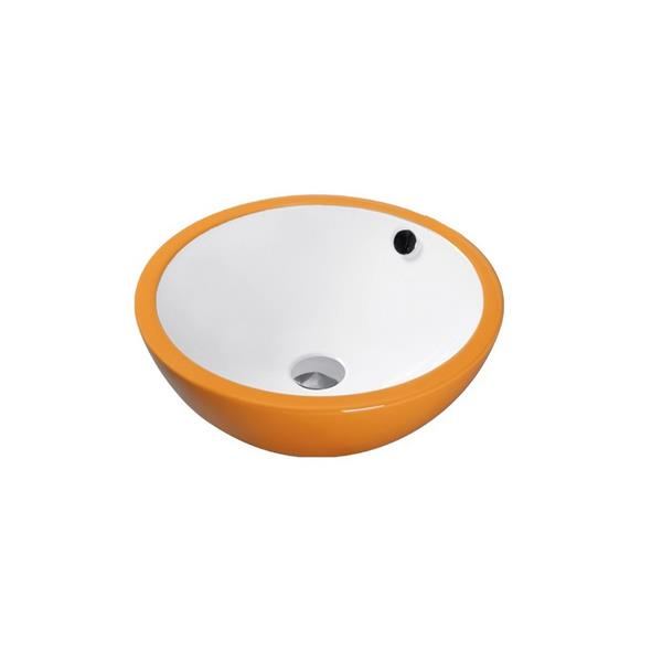 Luxo Marbre Ceramic Bathroom Sink with Overflow -17.25-in- White/Orange