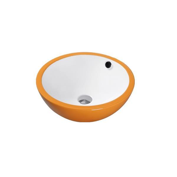 """Lavabo en céramique avec trop-plein, 17,25"""", blanc/orange"""