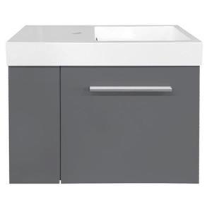Meuble-lavabo «Mini» de Luxi Marbre, 23,5 po, gris clair laqué