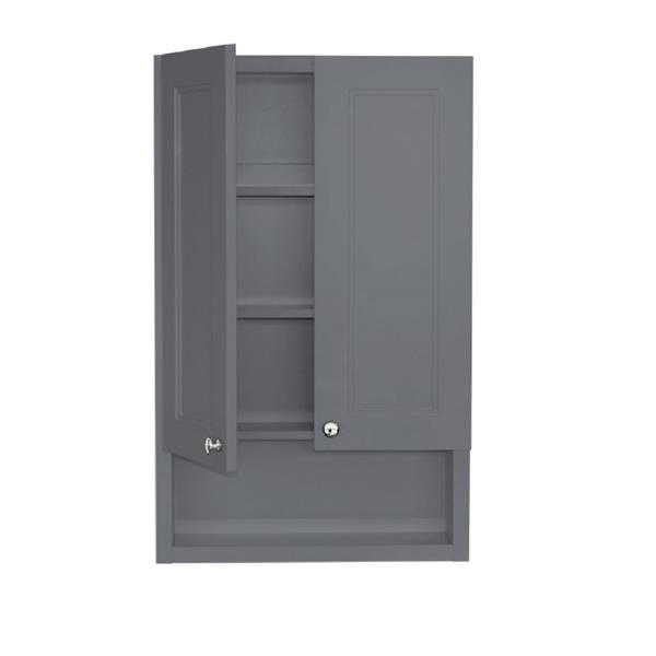 Luxo Marbre 2-Door Bathroom Cabinet - 22-in x 35.5-in - Lacquered Light Grey