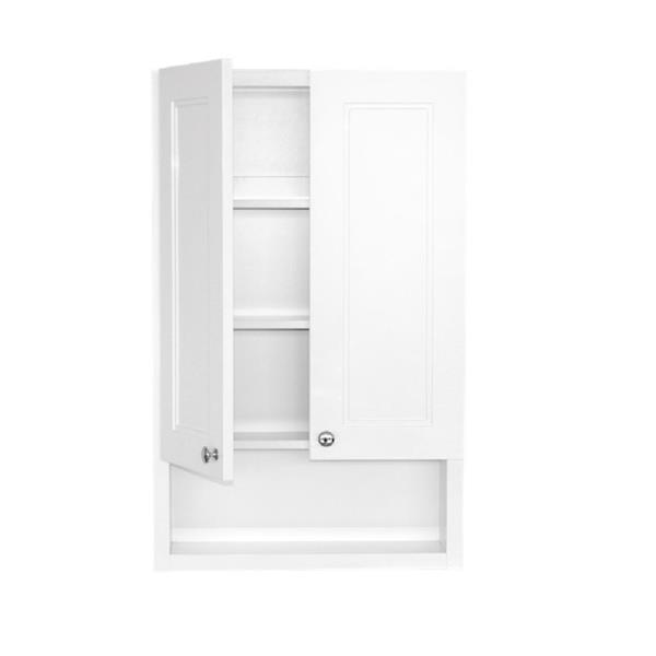 Luxo Marbre 2-Door Toilet Cabinet - 22-in x 35.5-in - Lacquered White