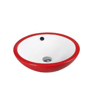 Luxo Marbre Ceramic Bathroom Sink with Overflow -17.25-in- White/Red