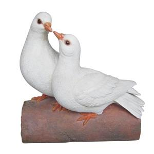 Hi-Line Gift Two Doves on a Log Statue - Multicoloured