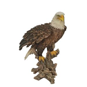 Hi-Line Gift Bald Eagle on Stump with Wings Out Statue - Multicoloured
