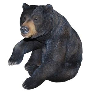 Hi-Line Gift Black Bear Sitting with One Paw Up Statue - Black