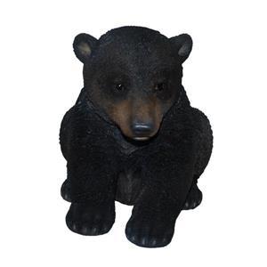 Hi-Line Gift Siiting Black Bear Cub Statue - Black