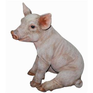 Hi-Line Gift Large Sitting Pig Statue - Multicoloured