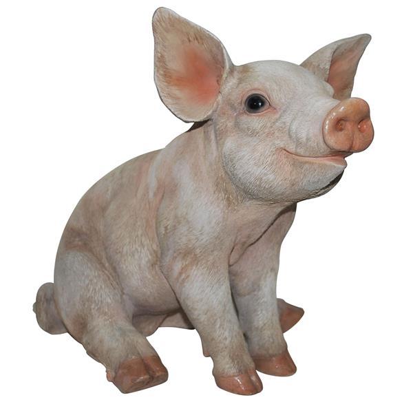 Hi-Line Gift Medium Sitting Pig Statue - Multicoloured