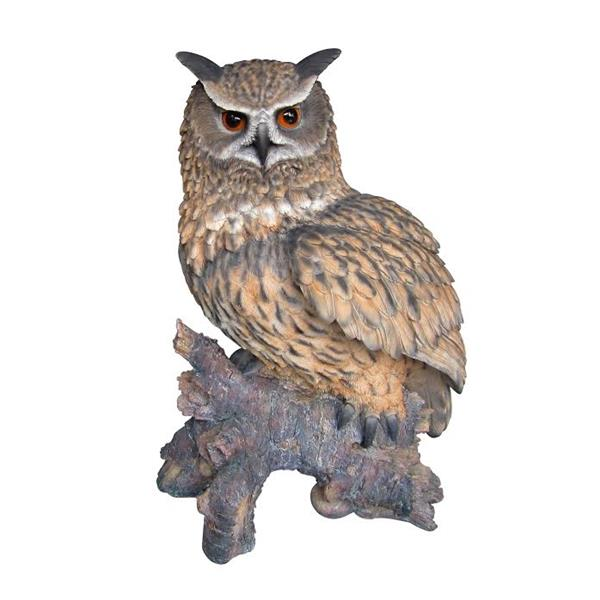 Hi-Line Gift Eagle Owl on Stump Statue - Multicoloured