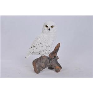 Hi-Line Gift Snowy Owl on Stump Statue - Multicoloured