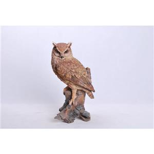 Hi-Line Gift Great Horned Owl on Stump Statue - Multicoloured