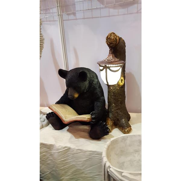 Hi-Line Gift Black Bear Sitting and Reading Statue - Multicoloured