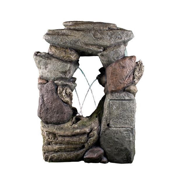 Fonatine en pierre à mutli niveaux avec lampe, multicolore