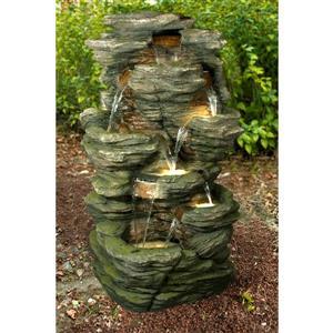 Fontaine à multi niveaux avec roches/éclairage à DEL, multi