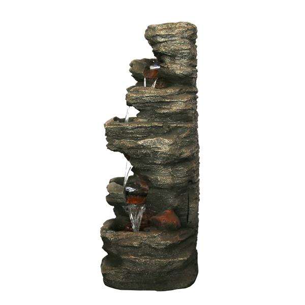 Hi-Line Gift 7-Level Outdoor  Stone Fountain with Lights - Multicoloured