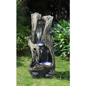 Fontaine avec tronc d'arbre et éclairage à DEL, multicolore