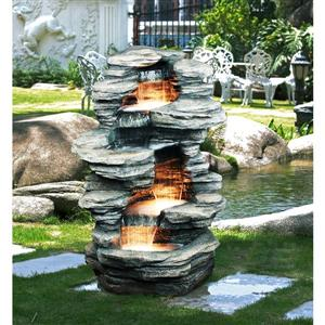 Hi-Line Gift 4-Level Rock Fountain with Halogen Light - Multicoloured