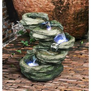 Hi-Line Gift 4-Level Rock Fountain with LED Lights - Multicoloured
