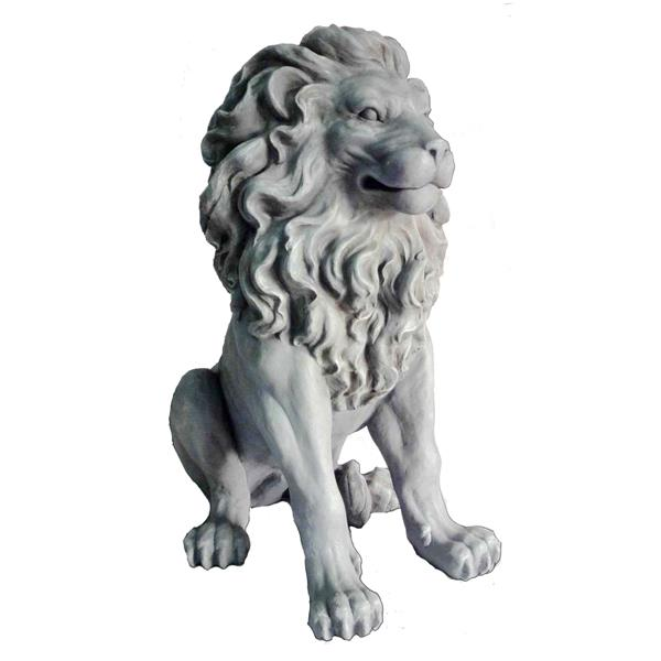 Hi-Line Gift Clayfiber Sitting Lion Statue - Multicoloured