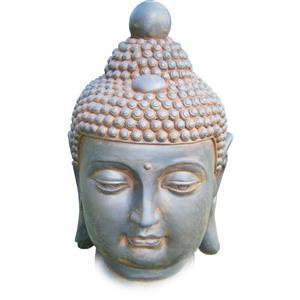 Statue en fibre d'argile de tête de Buddha, multicolore
