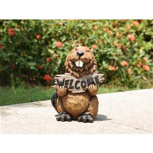 Statue de castor tenant un panneau de bienvenue, multicolore