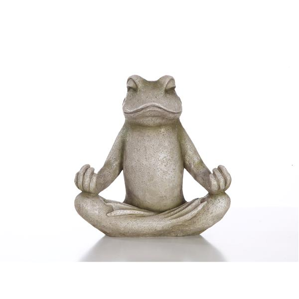 Hi-Line Gift Frog Sitting in Lotus Position Statue - Multicoloured