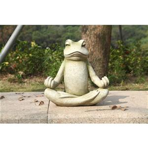 Statue de grenouille assise dans la position lotus, verte