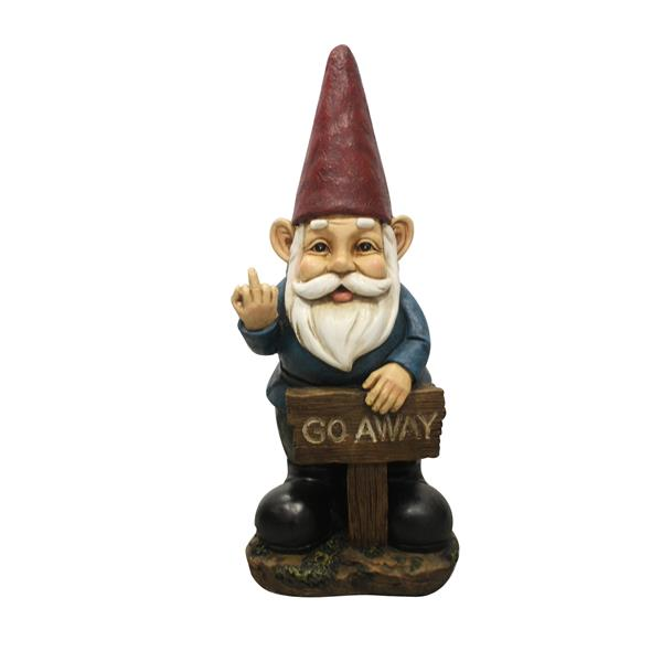 Hi-Line Gift Gnome Holding a Go Away Sign Statue- Multicoloured