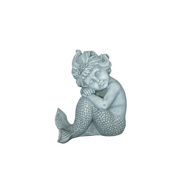 Hi-Line Gift Sitting Mermaid Statue - Multicoloured