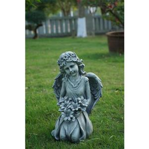 Statue de ange à genoux tenant des fleurs, multicolore