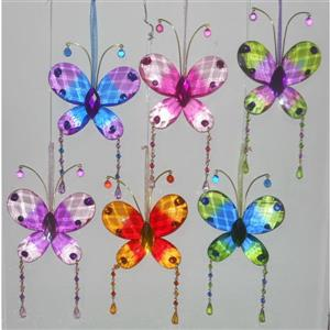 Hi-Line Gift Acrylic Butterfly Suncatcher - Multicoloured