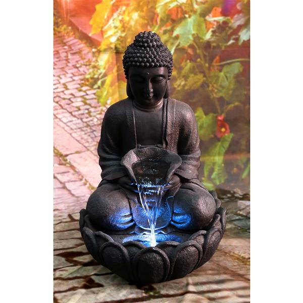 Hi-line Gift Ltd. Hi-Line Gift Outdoor Buddha Fountain with LED Lights - Multicoloured 79567