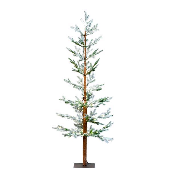 "Hi-Line Gift Pine Snow Tree with 200 LED Lights - 71"" - Warm White"