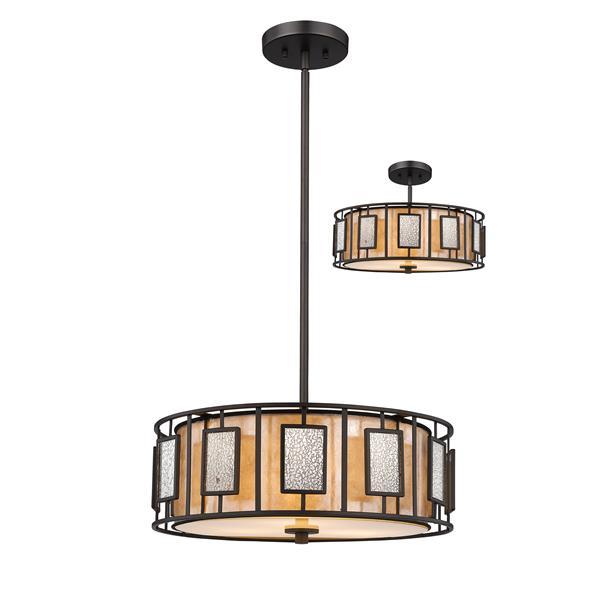 Lumière suspendue à 3 lumières «Lankin», bronze